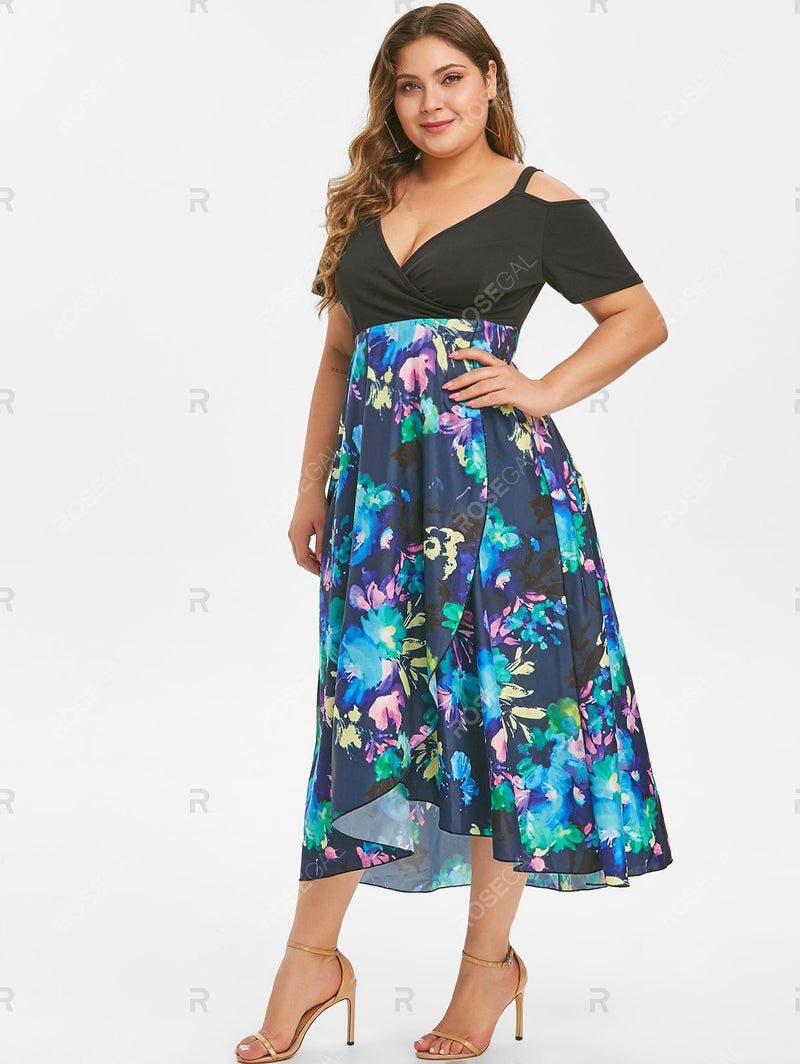 Plus Size Plunge Tie Dye Surplice Dress