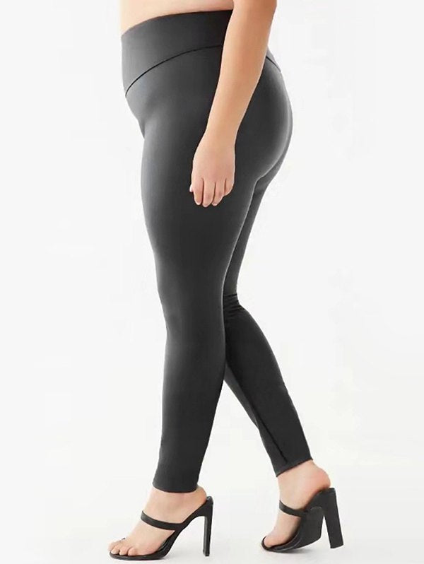 Plus Size Wide Waistband Faux Leather Leggings