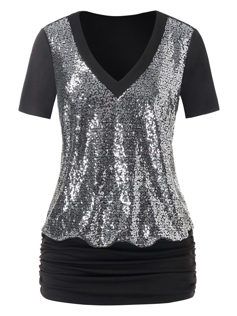 Plus Size Sparkling Sequined Blouson Top