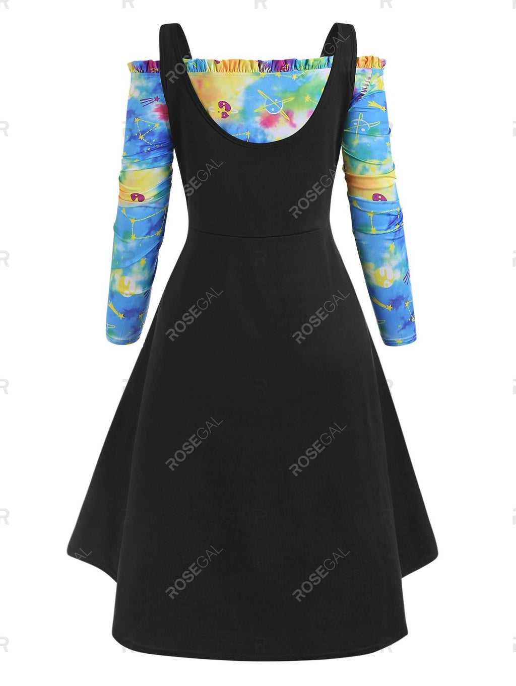 Plus Size High Low Tank Top and Galaxy Tie Dye Off Shoulder Dress