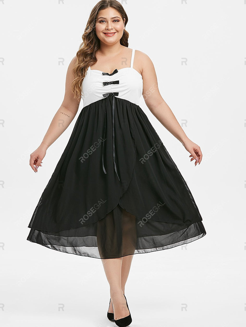 Plus Size Bowknot Two Tone Midi Dress