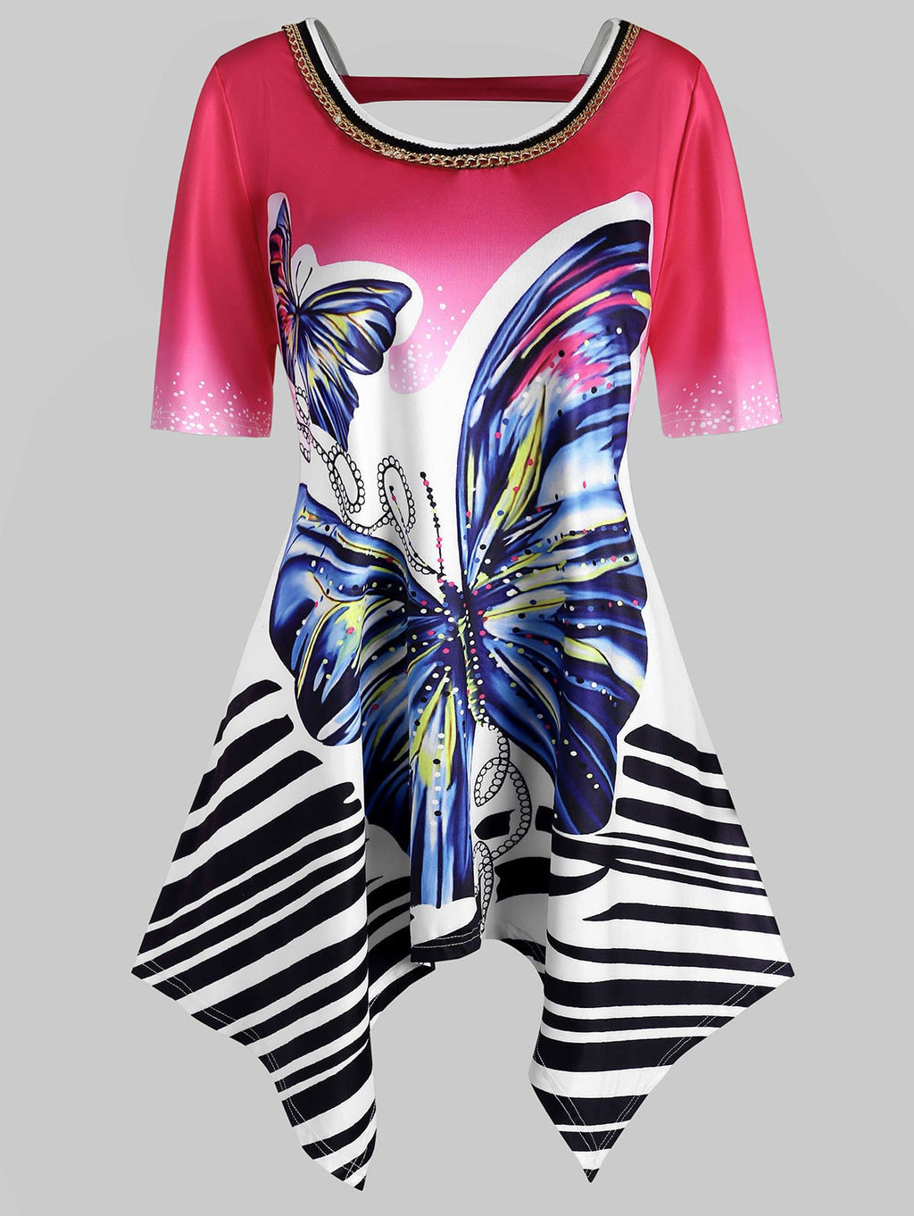Plus Size Handkerchief Butterfly Print Top
