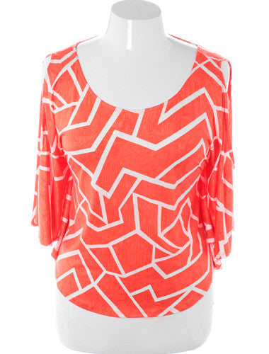 Plus Size Open Shoulder Trendy Orange Loose Top