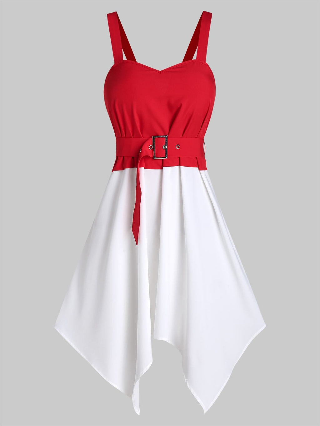 Plus Size Sleeveless Hanky Hem Belted Contrast Dress