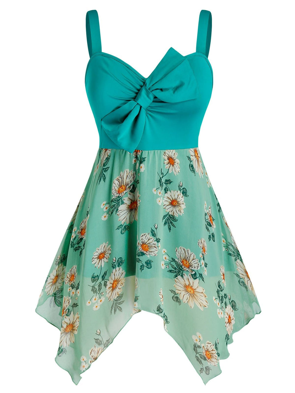 Plus Size Bowknot Flower Print Handkerchief Backless Tank Top