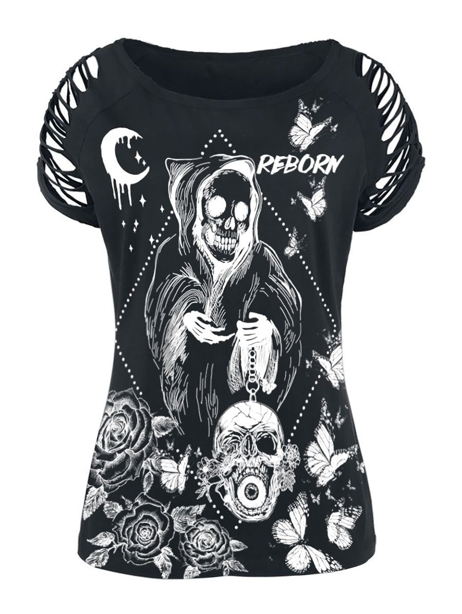 Plus Size Gothic Skull Floral Print Ladder Cut Out Top