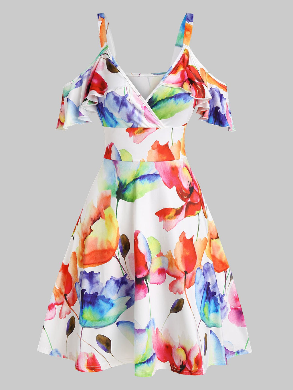Plus Size Floral Printed Cold Shoulder A Line Dress