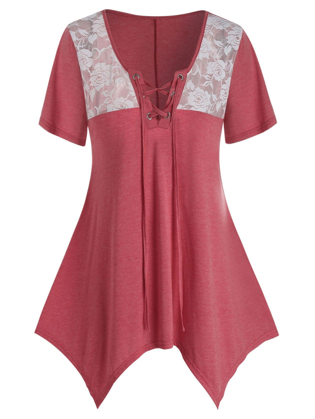 Plus Size Lace Panel Lace Up Hanky Hem Tunic Top