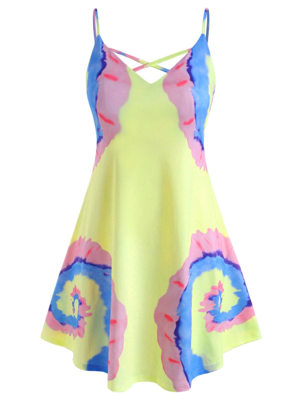 Criss Cross Tie Dye Plus Size Cami Dress