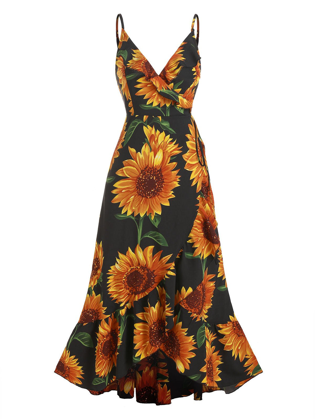 Plus Size Sunflower Print Flounce Wrap Maxi Dress