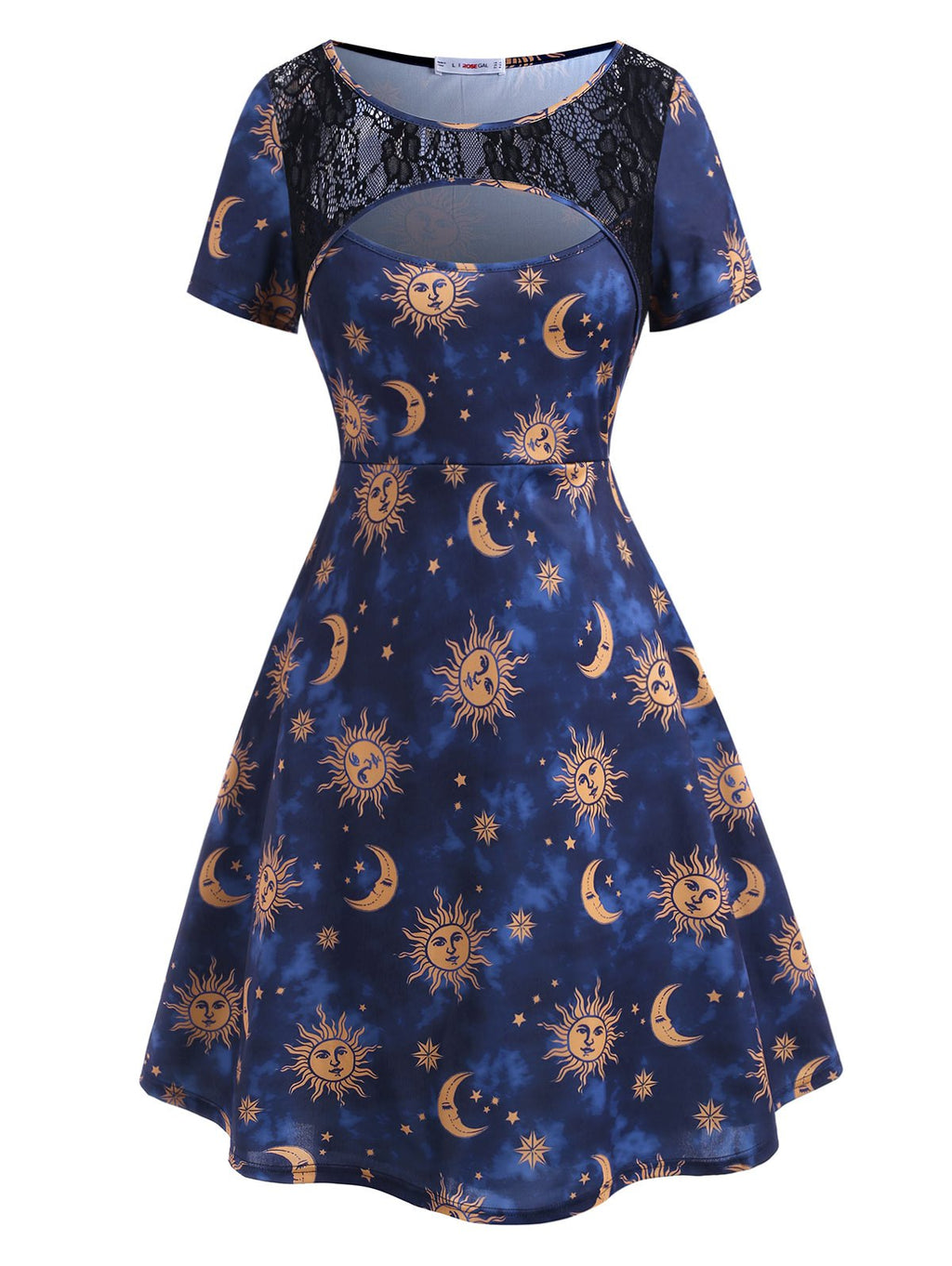 Plus Size Sun Moon Print Cutout Dress