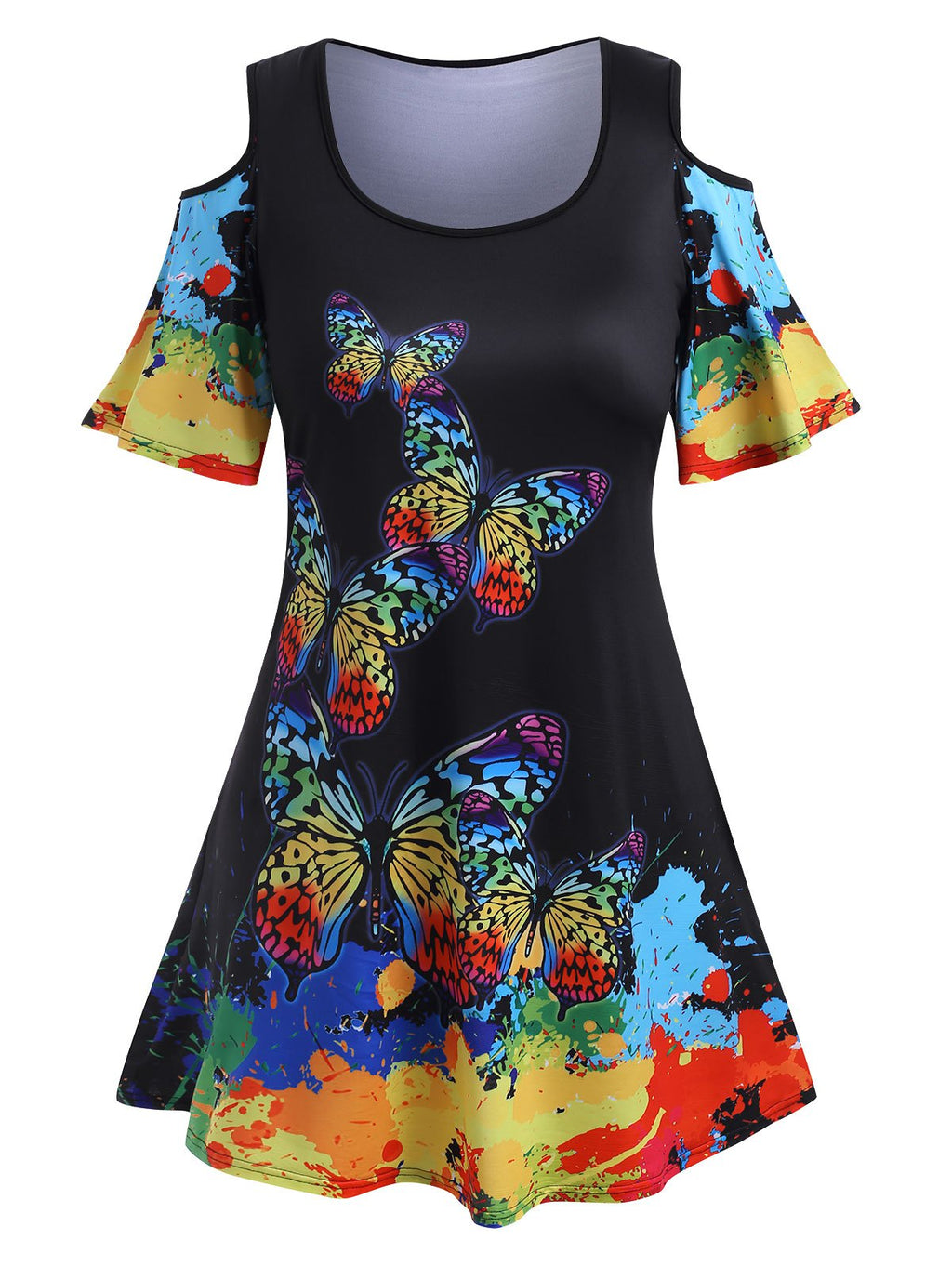 Plus Size Rainbow Color Butterfly Print Cold Shoulder
