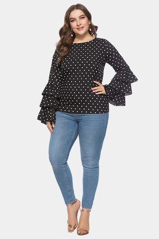 Plus Size Bold Ruffle Layered Sleeve Polka Dot Top
