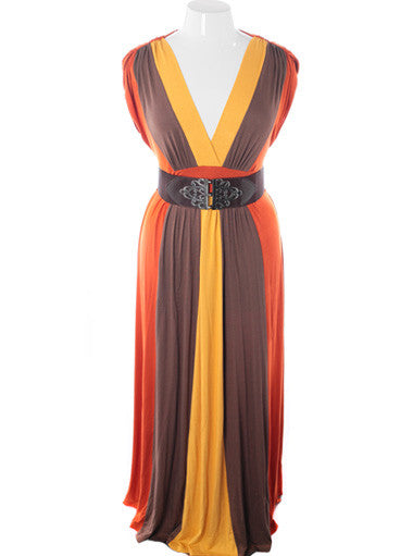 Plus Size Ravising Floor Length Belted Orange Sleeveless Dress