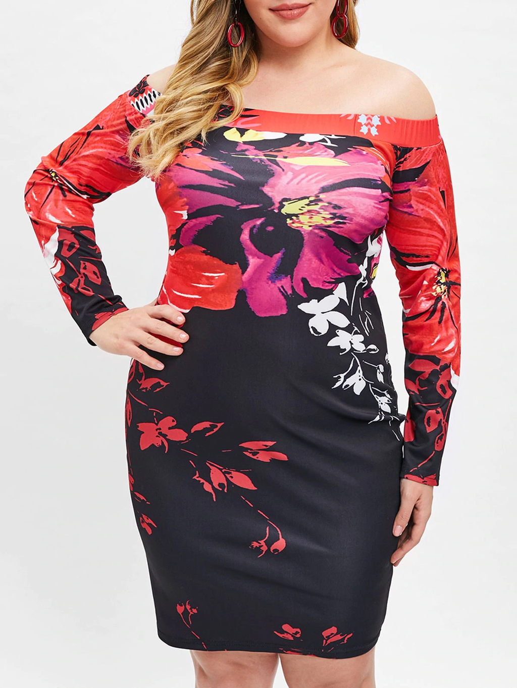 Plus Size Off Shoulder Floral Bodycon Party Dress