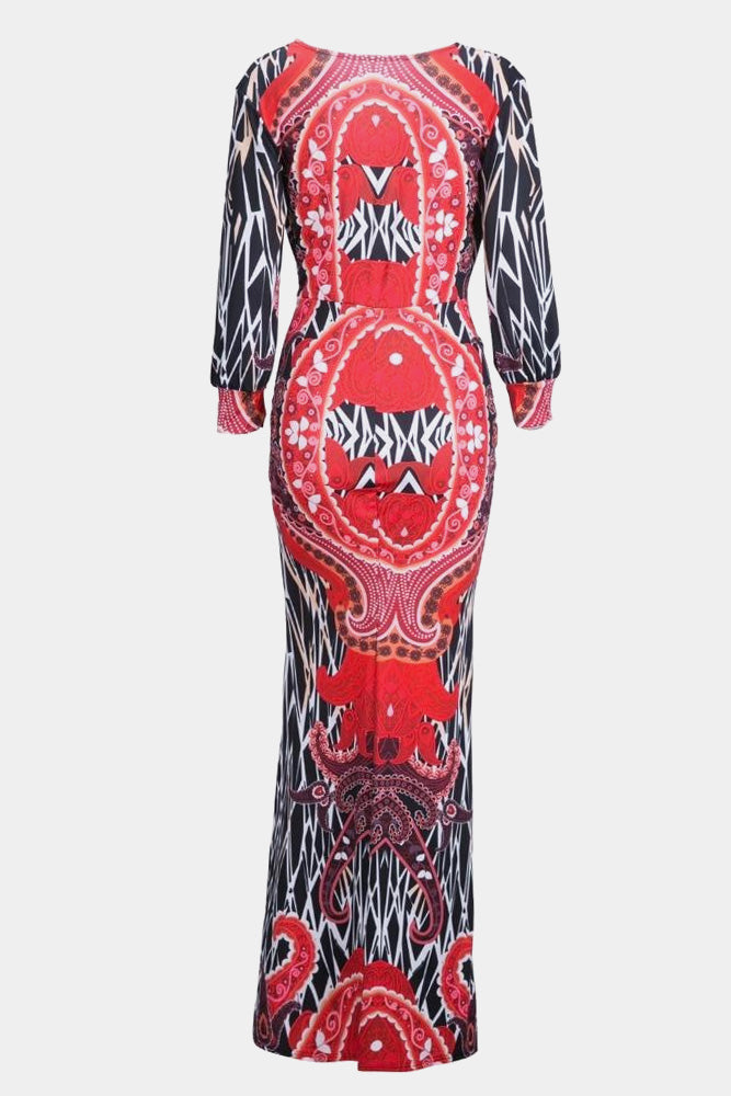 Plus Size Deep V Neck Designer Print Long Sleeve Maxi Dress