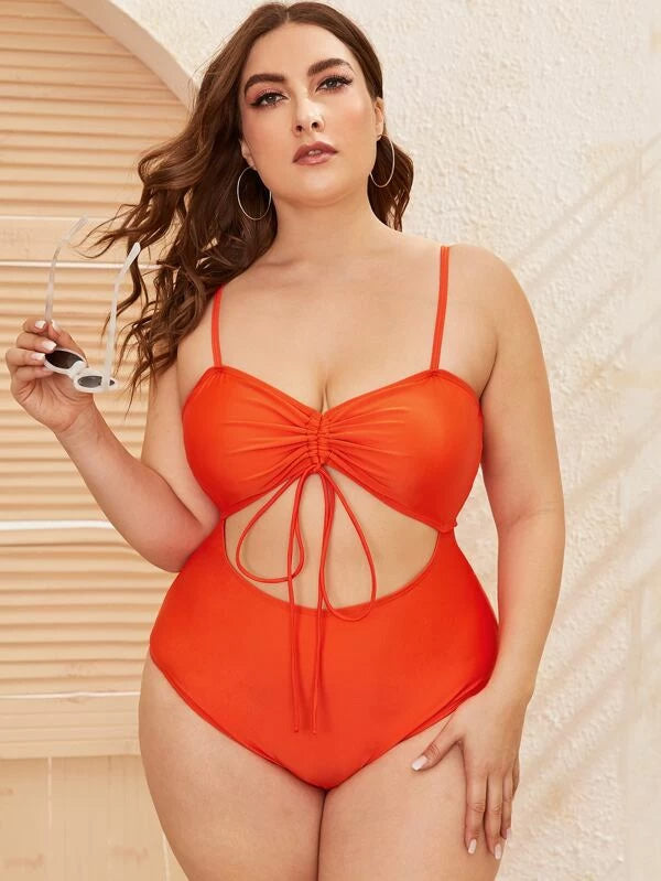 Plus Size Drawstring One Piece Swimwear