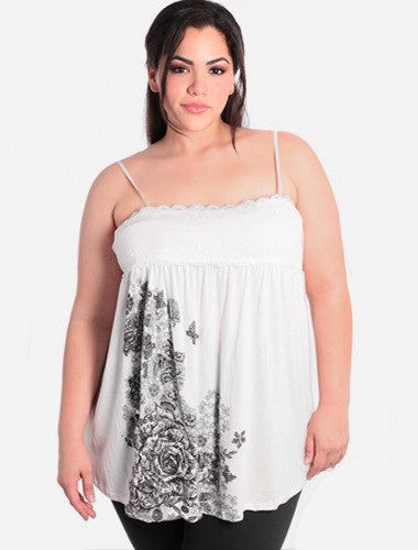 Plus Size Butterfly Lace White Babydoll