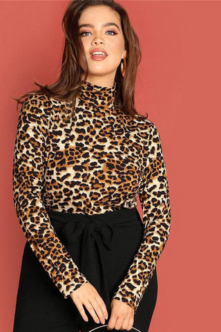 Plus Size Leopard Print Long Sleeve Top