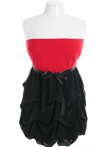 Plus Size Adorable Ruffle Bubble Skirt Red Tube Dress