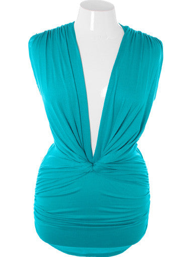 Plus Size Sexy French V Neck Teal Mini Dress