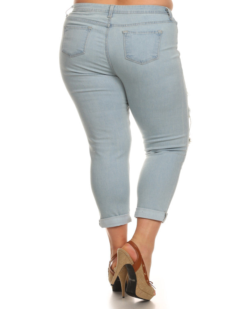 Plus Size Boyfriend Cuffed Slashed Light Blue Jeans