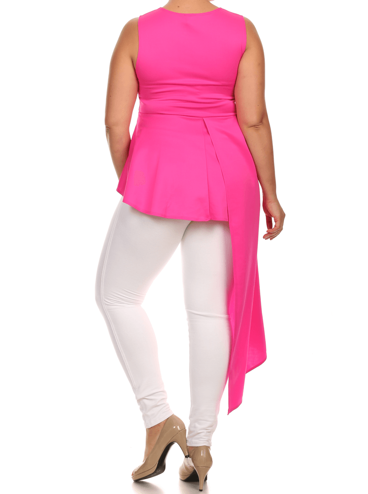 Plus Size Gala Asymmetrical Pink Maxi Shirt Dress