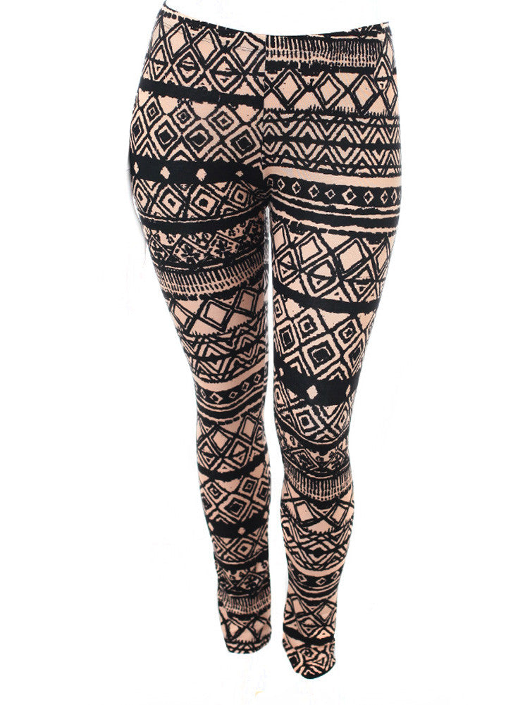 Plus Size Tribal Print Taupe Leggings