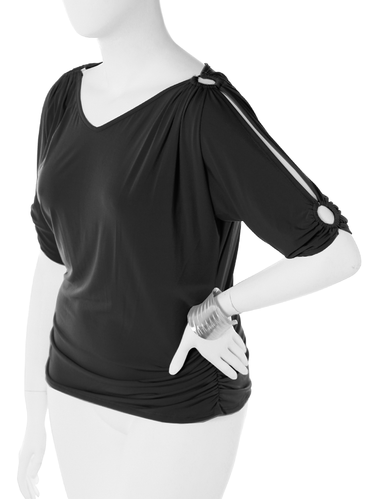 Plus Size Open Sleeve Adorned Black Top