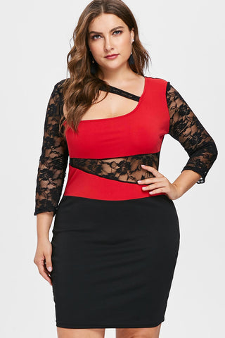 Plus Size See Through Lace Sleeve Cutout Bodycon Dress