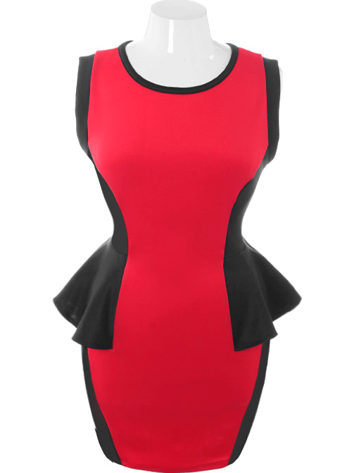 Plus Size Hot Bodycon Peplum Red Dress