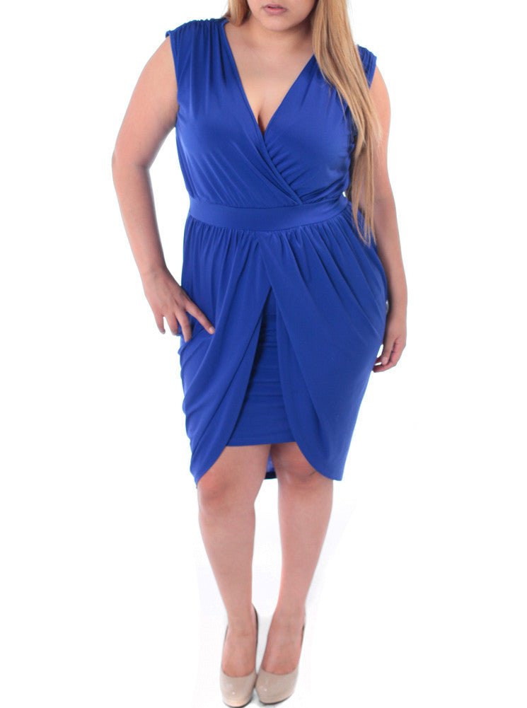 Plus Size Enticing Bubble Skirt Blue Dress