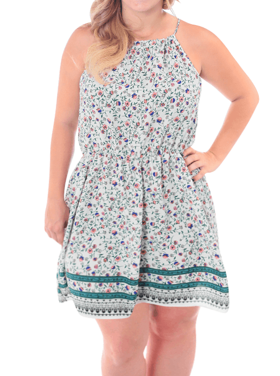 Plus Size For Love Floral White Dress