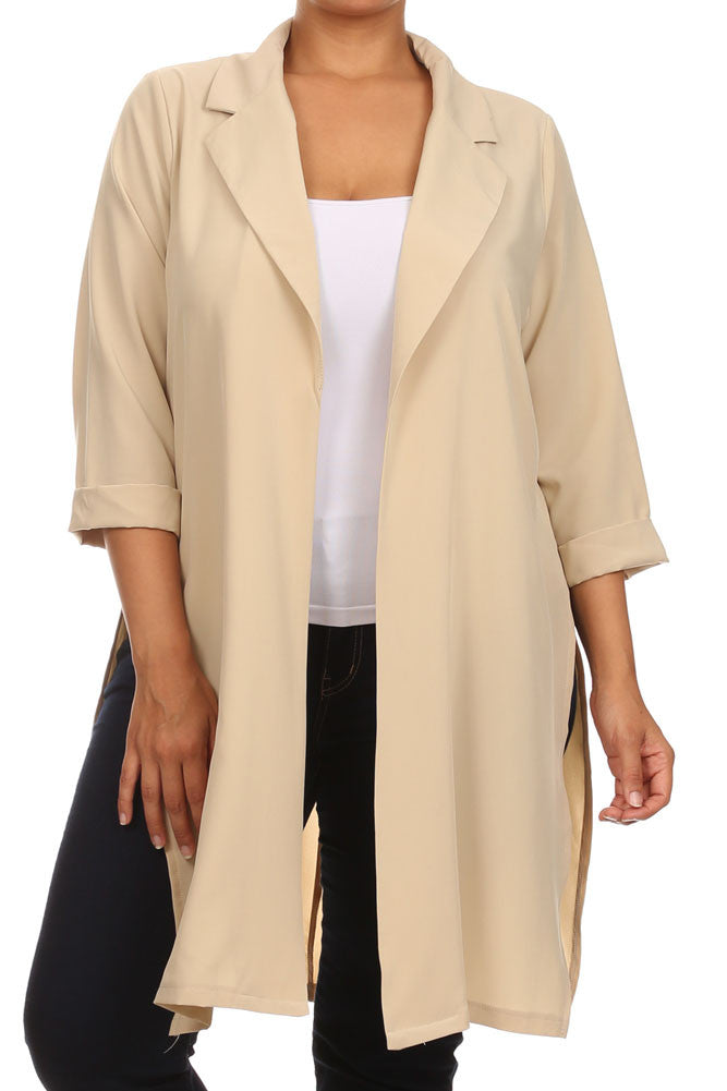 Plus Size In Town Sheer Split Sides Taupe Jacket