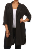 Plus Size In Town Sheer Split Sides Black Jacket