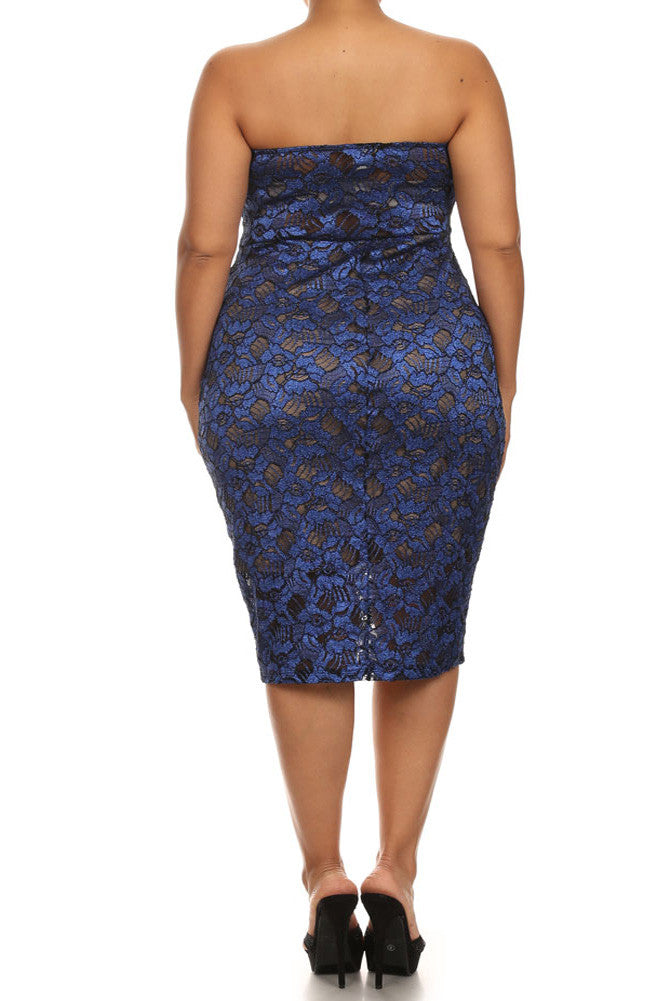 Plus Size Sparkling Flower Blue Plunging Dress