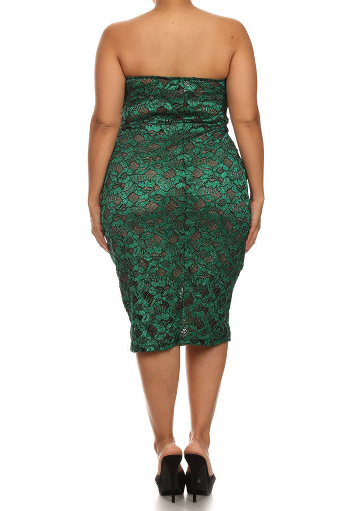 Plus Size Sparkling Flower Green Plunging Dress