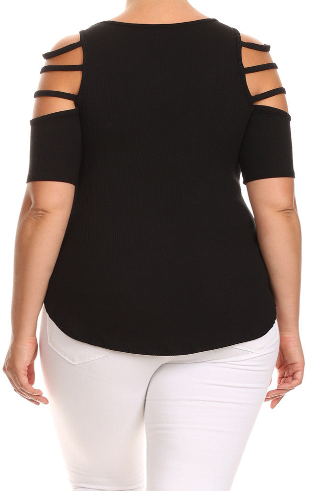 Layered Cut Out Shoulders Ribbed Plus Size Top