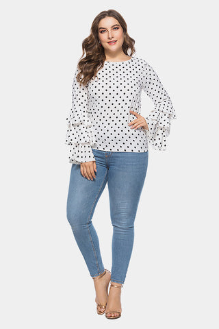 d8acfe8f28a ... Plus Size Bold Ruffle Layered Sleeve Polka Dot Top ...