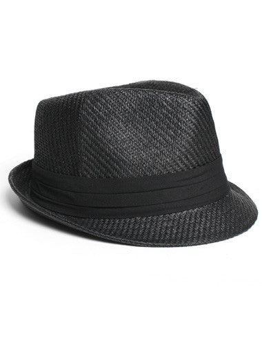 Trendy Classic Tweed Black Fedora Hat