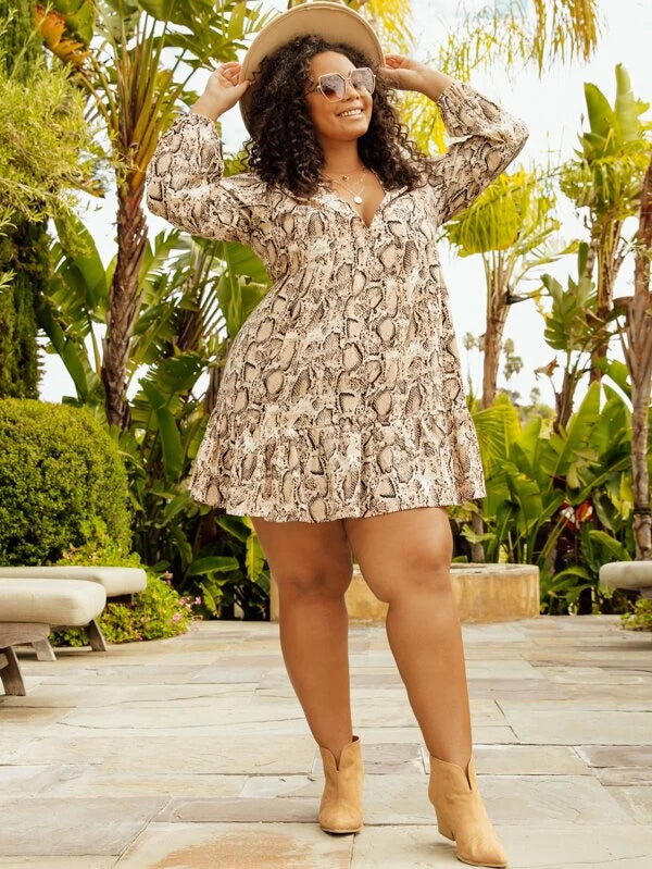 Plus Size Snakeskin Print Bishop Sleeve Dress Without Belted