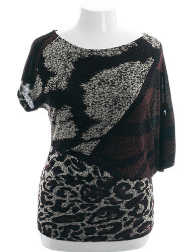 Plus Size Abstract Animal Print Blouse
