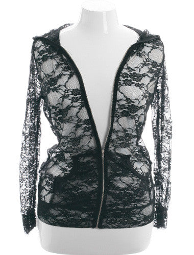 Plus Size See Through Lace Zipper Jacket