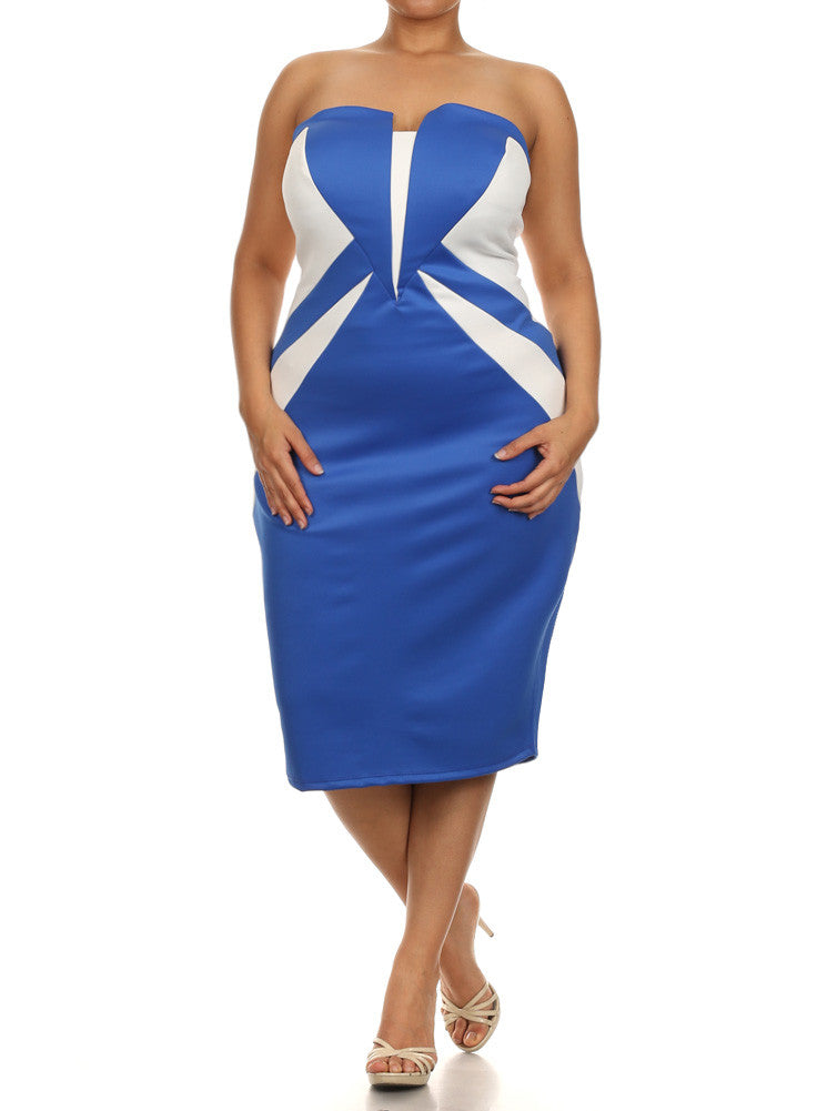 f19edd18305 Plus Size Chic Color block Blue Tube Dress – Plussizefix