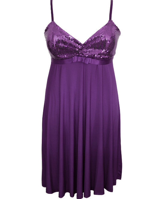Plus Size Sparkling Cocktail Purple Dress