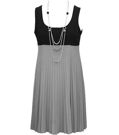 Grey Pleat Jewelry Dress
