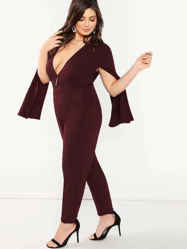 Plus Size Plunge Neck Cape Jumpsuit