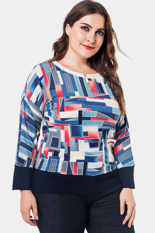 Plus Size Lively Block Pattern Rainbow Graphic Top