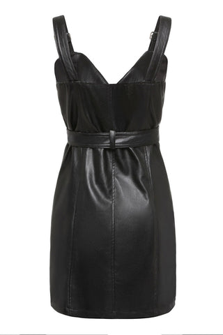 Plus Size Diva Faux Leather Bodycon Suspender Dress