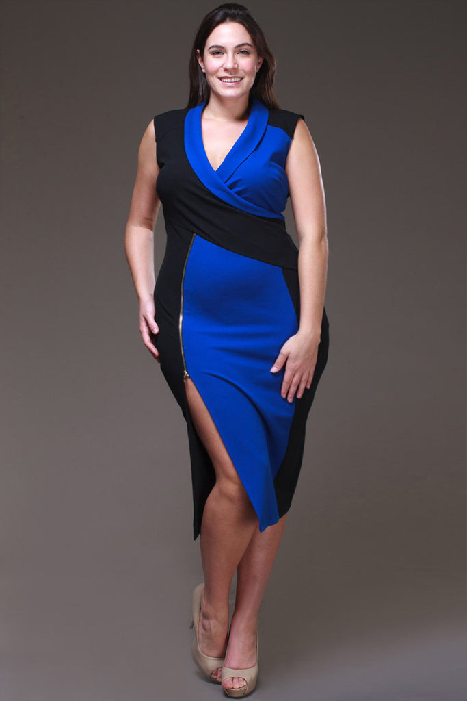 Two Tone Color Block Plus Size Dress